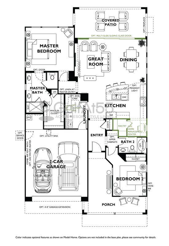 Floorplan Juniper 1 544 Sf Trilogy At Verde River Golfat55 Com